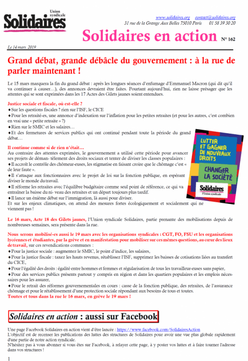 Solidaires en action n° 162 (14 mars 2019)
