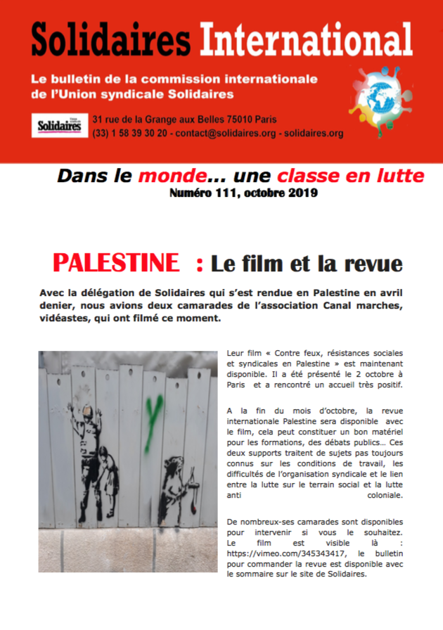 Solidaires international n° 111 – octobre 2019